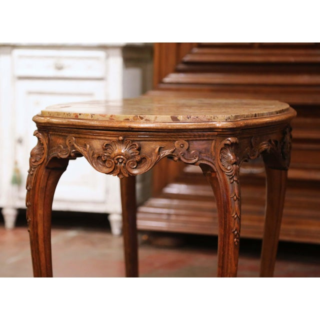 19th Century French Louis XV Carved Oak Side Table With Beige Marble Top For Sale - Image 11 of 13