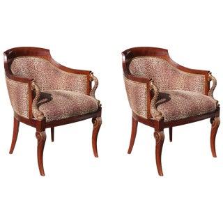 Pair of Hollywood Regency Tub Chairs