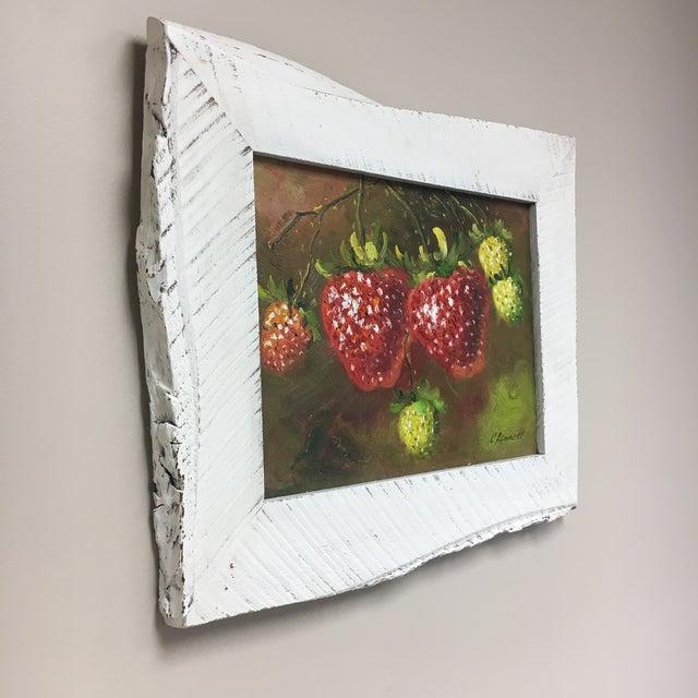 C. Ronnett Strawberry Still Life Oil Painting For Sale - Image 4 of 6