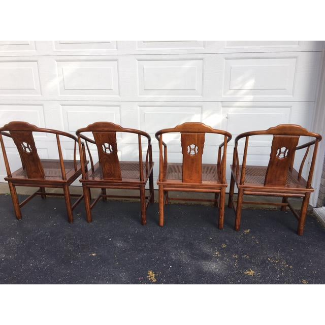 Brown Henredon Asian Elm Caned Chairs - Set of 4 For Sale - Image 8 of 10
