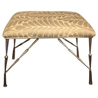 Nickel Bamboo Stool With Custom Upholstery