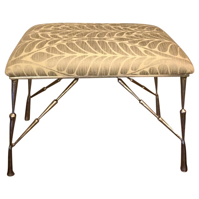 Nickel Bamboo Stool With Custom Upholstery For Sale