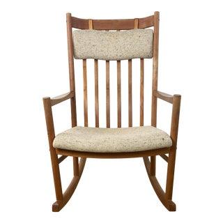 Vintage Danish Modern Teak Rocking Chair Attributed to Hans Wegner for Tarm Stole