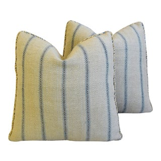 """French Grain Sack Textile & Leather Feather/Down Pillows 20"""" Square - Pair"""