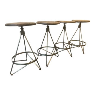 Vintage Brass & Wood Bar Stools - Set of 4 For Sale