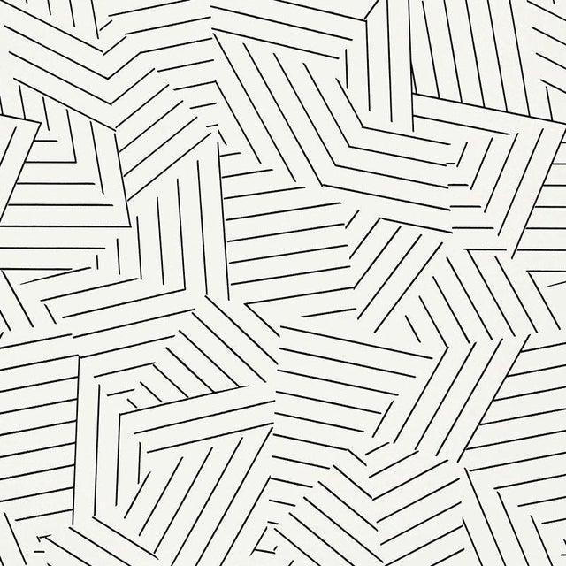 Sample - Schumacher Deconstructed Stripe Geometric Wallpaper in Black For Sale