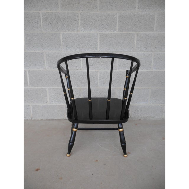Rousseau Bros. Barrel Back Spindle Black Painted Club Chairs-A Pair For Sale - Image 9 of 11