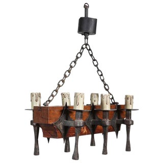 Six-Light Wrought Iron & Oak Chandelier For Sale