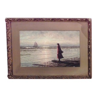19th Century American Victorian watercolor of girl wearing red dress on shore For Sale