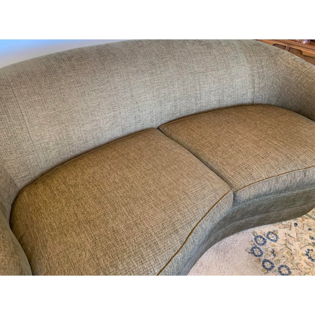 Drexel Heritage Kidney Shape Olive-Green Curved Sofa For Sale In Buffalo - Image 6 of 12