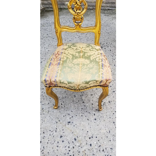 Late 18th Century Antique French Louis XV Style Rococo Giltwood Parlor Chairs-A Pair For Sale - Image 5 of 11