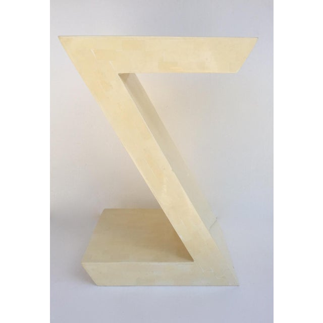 """Contemporary Karl Springer Attr. Inlaid Bone Tessellated """"Zig-Zag"""" Side/End Table For Sale - Image 3 of 13"""