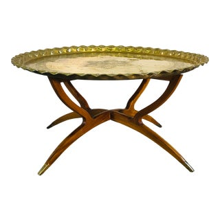 Vintage Spider Leg Coffee Table With Moroccan Brass Tray For Sale