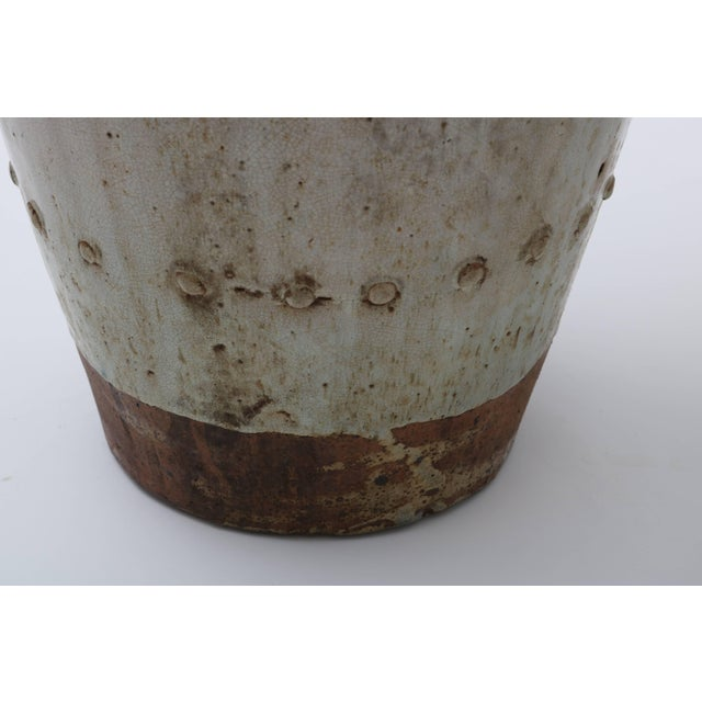 Tan Large Scale Thai Glazed Earthen Ware Urn Putty Colored For Sale - Image 8 of 11
