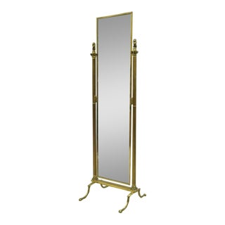 """Italian Neoclassical Small 54"""" Cheval Dressing Floor Mirror For Sale"""