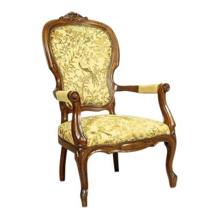 20th-Century Walnut Armchair in the Neo-Rococo Type For Sale