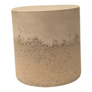 Plaster and Opal Drum Side Table For Sale