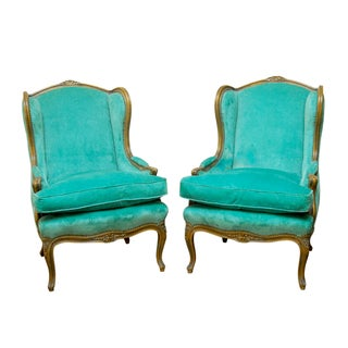 Louis XV Turquoise Velvet Wingback Chairs For Sale