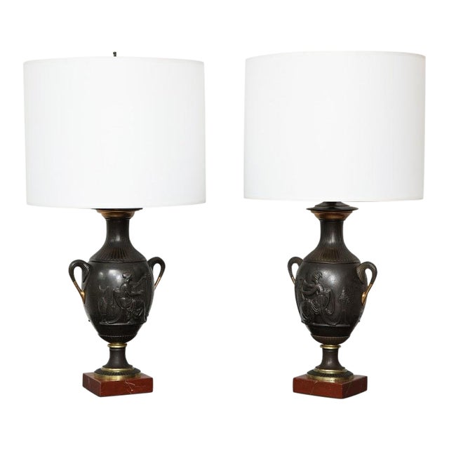 Pair of Antique French Bronze Urn Lamps in the Neoclassic Manner For Sale