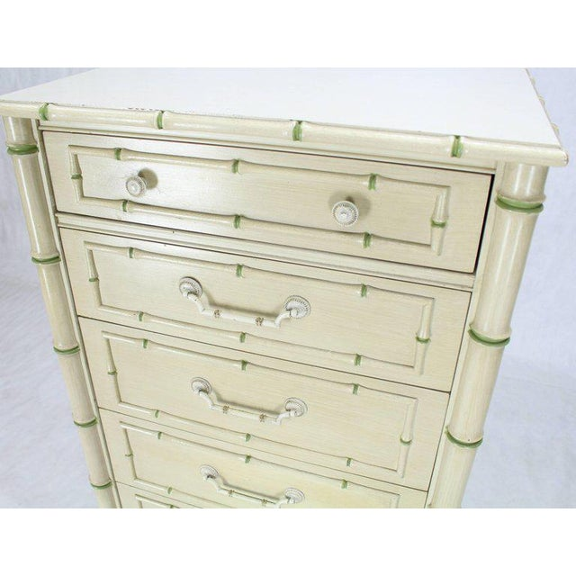 Mid 20th Century Tall Faux Bamboo Decorated Seven Drawers Lingerie High Chest Dresser For Sale - Image 5 of 9