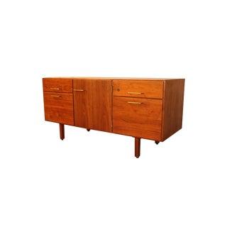 1960s Mid Century Jens Risom Walnut File Cabinet Credenza For Sale