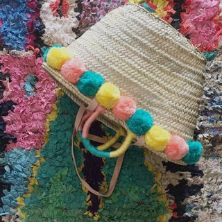 Moroccan Pompom Straw Basket Preview