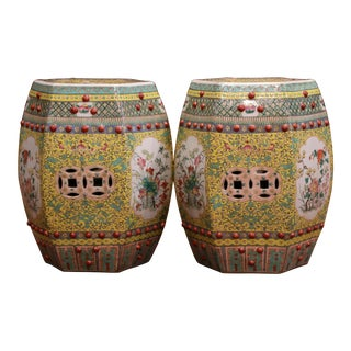 Pair of Mid-20th Century Chinese Porcelain Garden Stools With Floral and Foliage For Sale