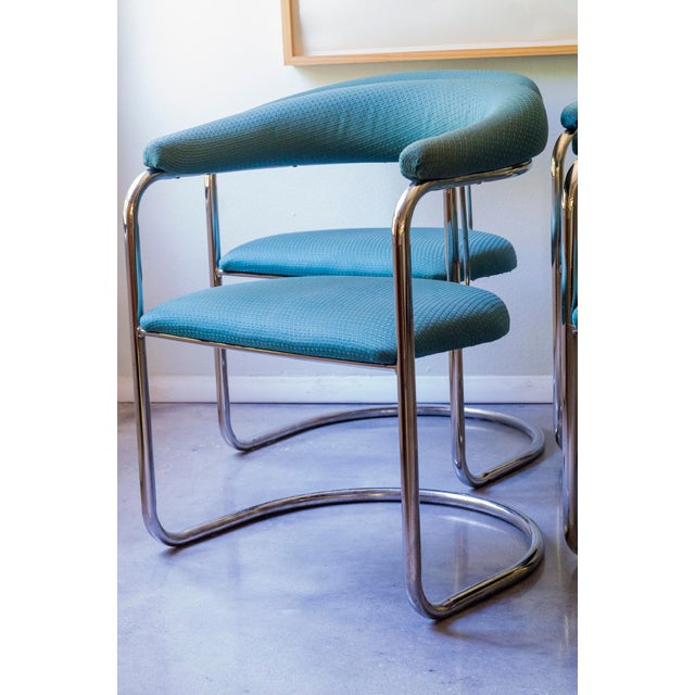 Thonet Tubular Chrome Teal Dining Chairs- Set of 4 - Image 6 of 9