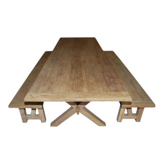 Petersen Antiques X-Trestle Table With Matching Benches - 3 Pieces For Sale