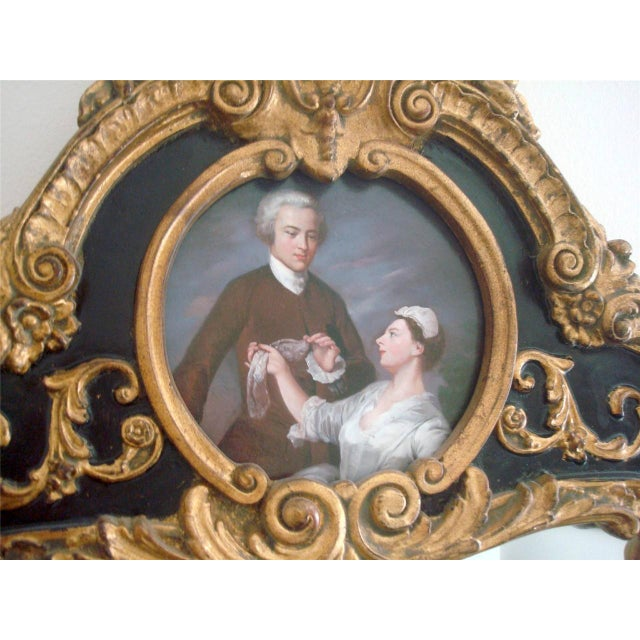 Gold French Style Gold Gilt Wood Hand Painted Wall Mirror For Sale - Image 8 of 10