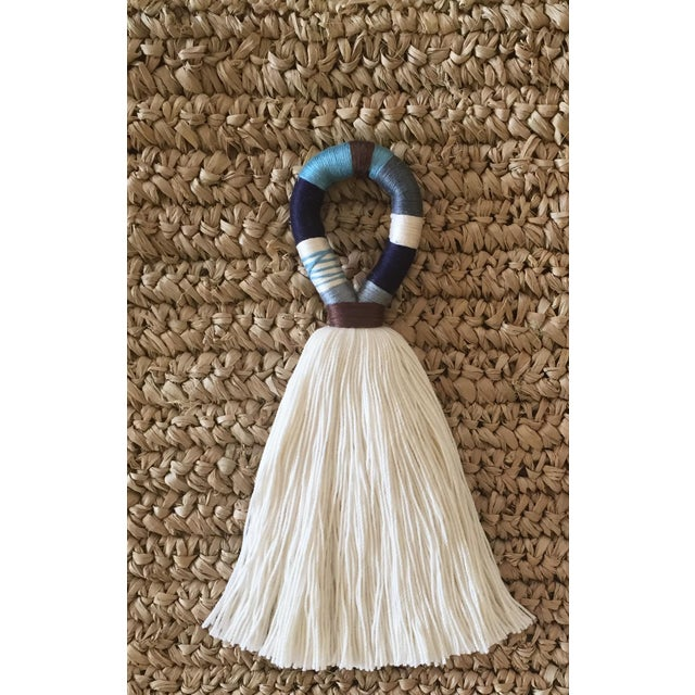 Boho Chic Boho Chic Blue and Brown Hula Tassel Door Hanger For Sale - Image 3 of 3