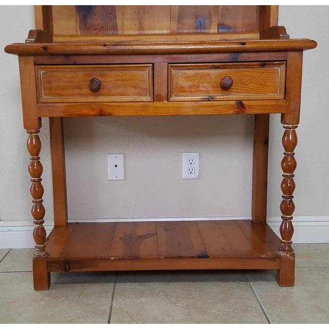 Ceramic Rustic Style Pine China Hutch Sideboard With Spindles - 2 Pieces For Sale - Image 7 of 12