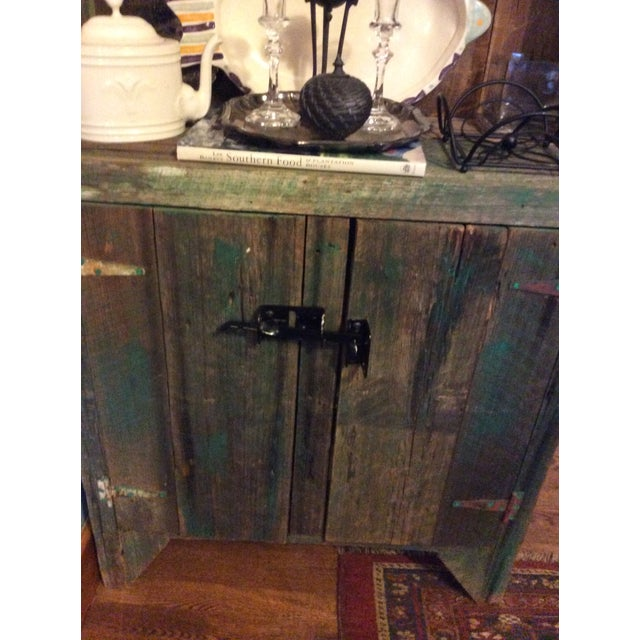 Primitive Wood Green Hutch For Sale - Image 4 of 13