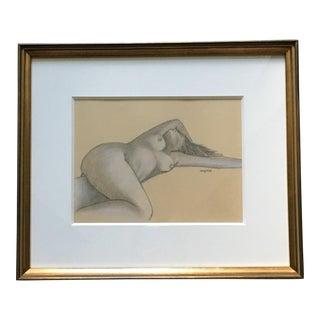 Tom Dameron Framed Original Charcoal Drawing For Sale