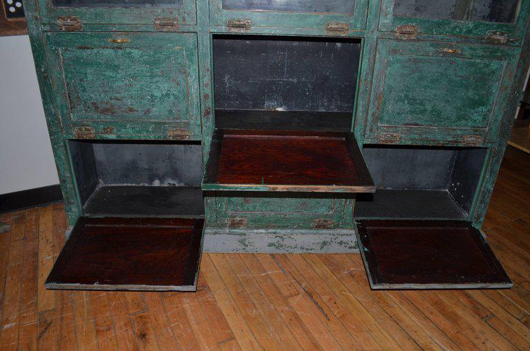 Merveilleux Green Apothecary Storage Cabinet Cupboard From Late 1800s, Used As Humidor  In Small Town Pharmacy