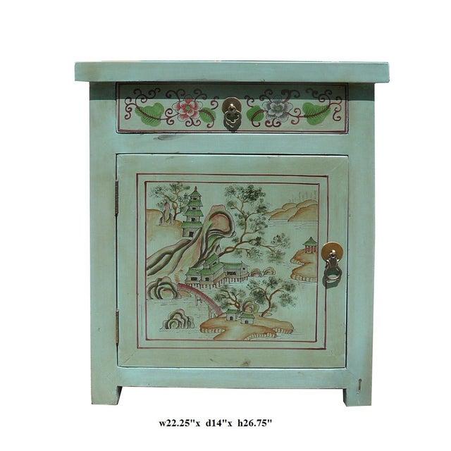 Oriental Pastel Blue Kid Scenery Side Table - Image 5 of 5