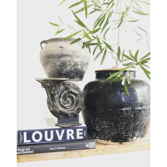Contemporary Antique Weathered Matte Gray Clay Pottery Cachepot For Sale - Image 3 of 4