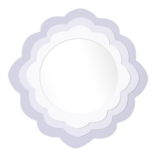 Fleur Home x Chairish Audobon Magnolia Circle Mirror in Spring Iris, 30x30 For Sale