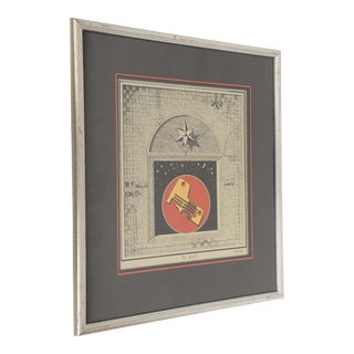Italian Fornasetti Style Signed Futurist Work Of Art For Sale