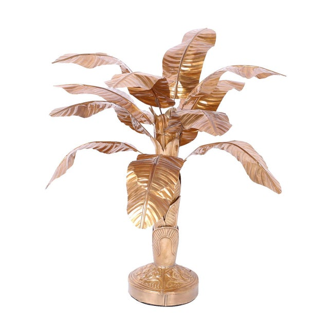 Gold Midcentury Brass Palm Tree Sculpture For Sale - Image 8 of 8