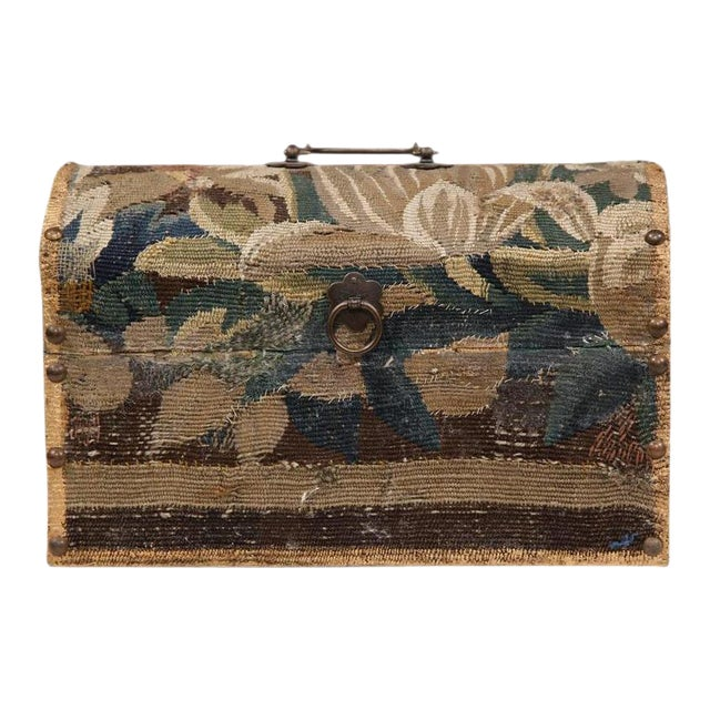 Bombe Wood Trunk Covered With 18th Century Aubusson Tapestry and Signed J. Lamy For Sale