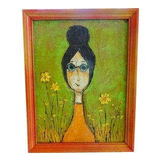 60's Abstract/Pop Whimsical Portrait, by Kay Blaco For Sale