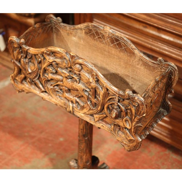 19th Century French Carved Black Forest Jardiniere With Hunting Attributes - Image 7 of 9