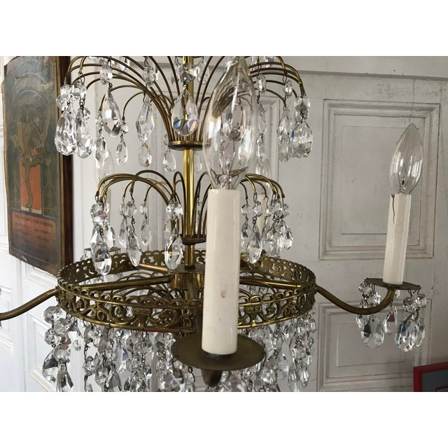 Metal Russian Baltic Crystal Layered Polished Brass Waterfall Chandelier For Sale - Image 7 of 11