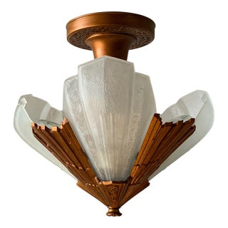 1930s Art Deco Virden Short Ceiling Chandelier For Sale
