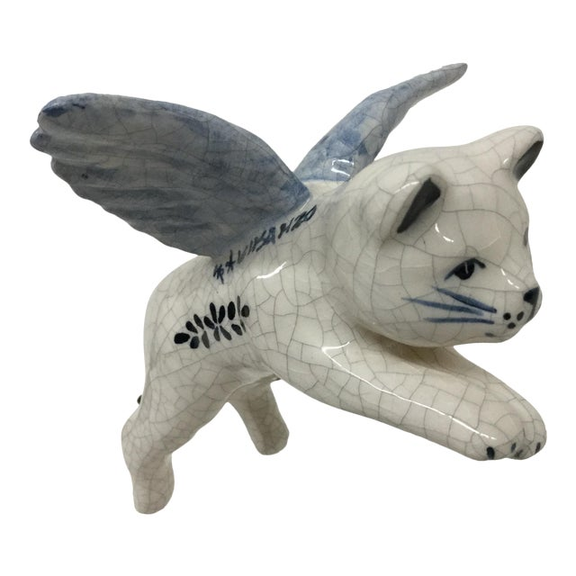 Hand Painted Artisan Ceramic Flying Cat Ornament For Sale