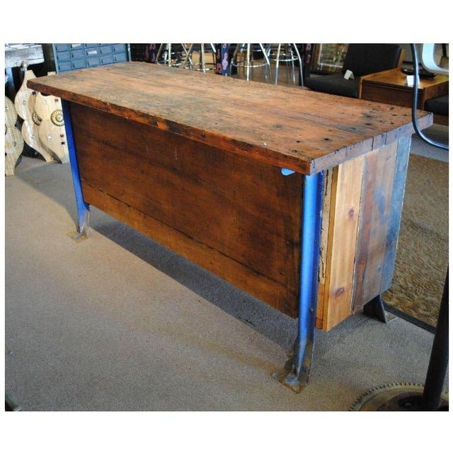 Vintage Wood Workbench Table or Console - Image 9 of 9