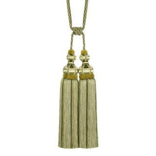 "Olive Green Double Tassel Tieback With Cut Ruche- Tassel Height 17"" For Sale"