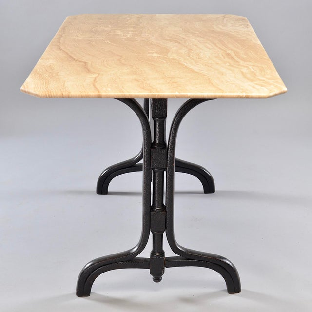 Pub Table With Marble Top and Ebonised Bentwood Base For Sale In Detroit - Image 6 of 12