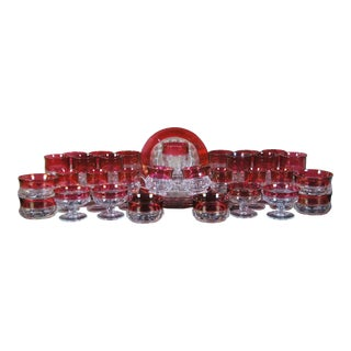 Mid 20th Century Kings Crown Tiffin Franciscan Cranberry Flashed Bohemian Dessert Glass Set - Set of 37 For Sale